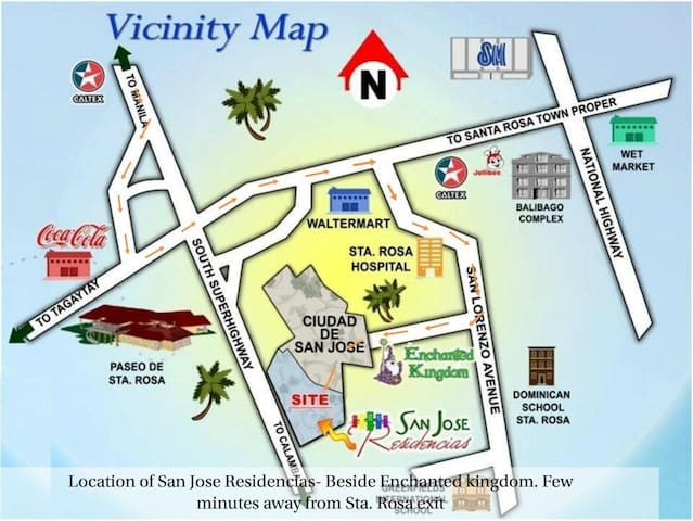 Location beside Enchanted Kingdom and few minutes away from Sta. Rosa exit