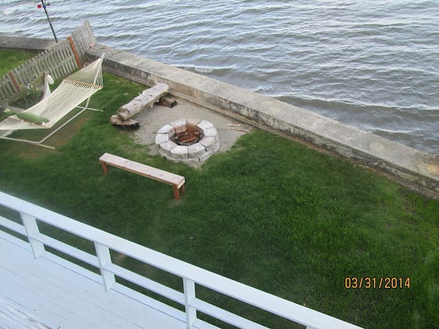 Looking down from the master bedroom deck when tide is in