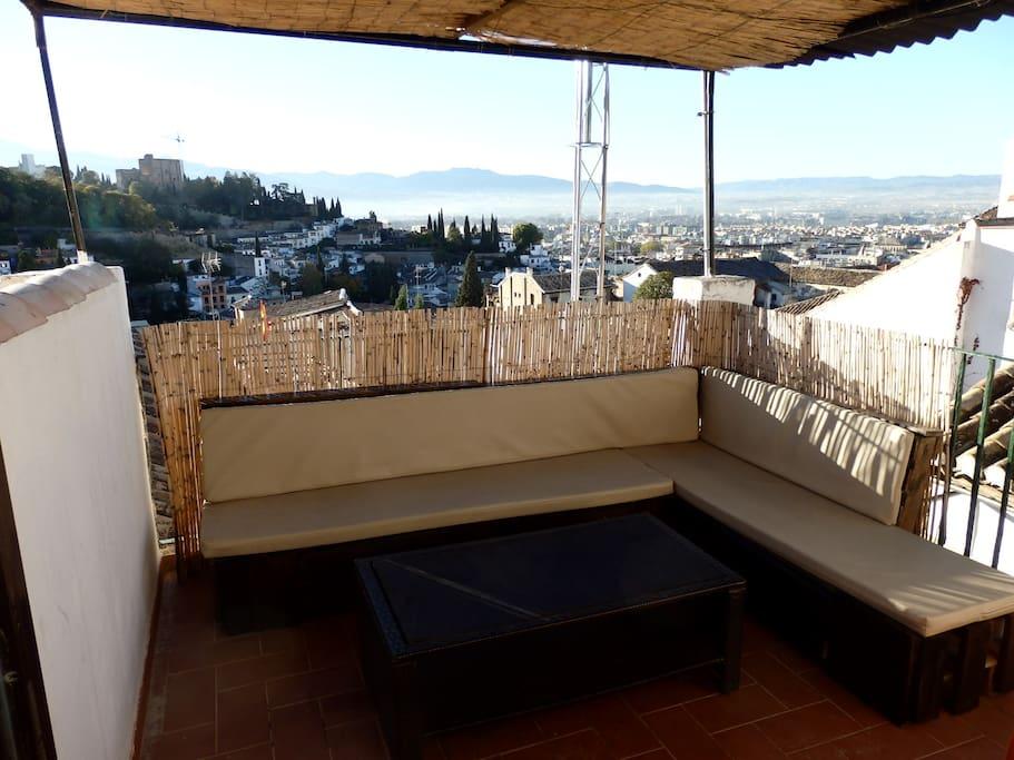 Terraza privada para el disfrute de los huespedes