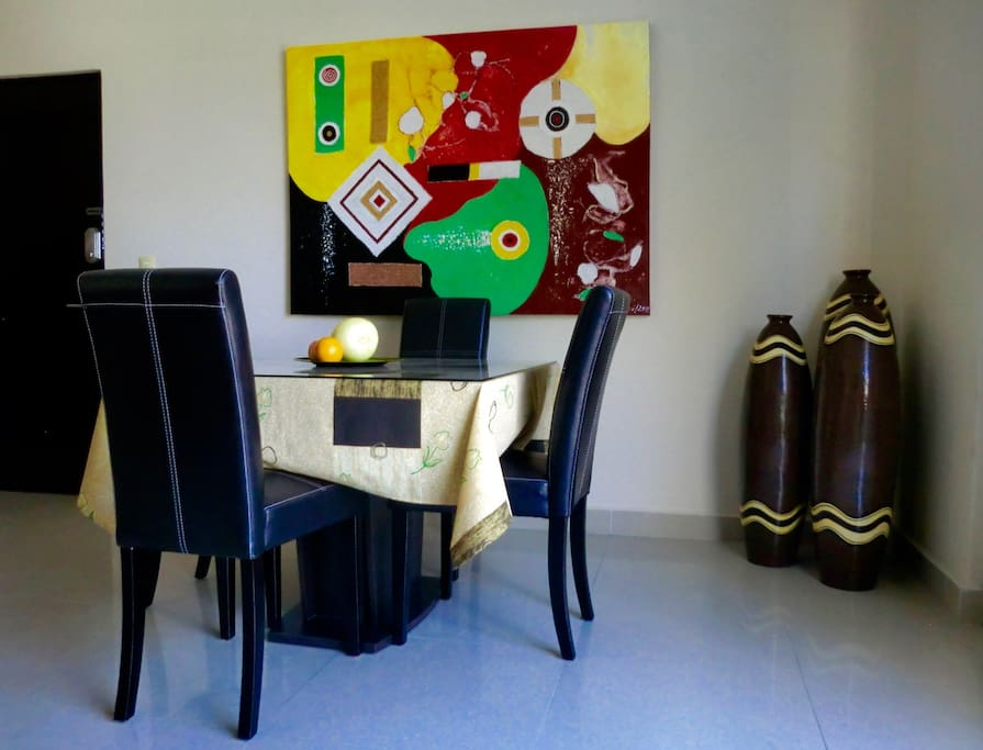 Enjoy your meals in an elegantly decorated dining area.