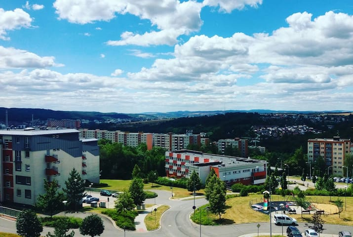 An unbeatable view over Zlin and the surrounding mountains.