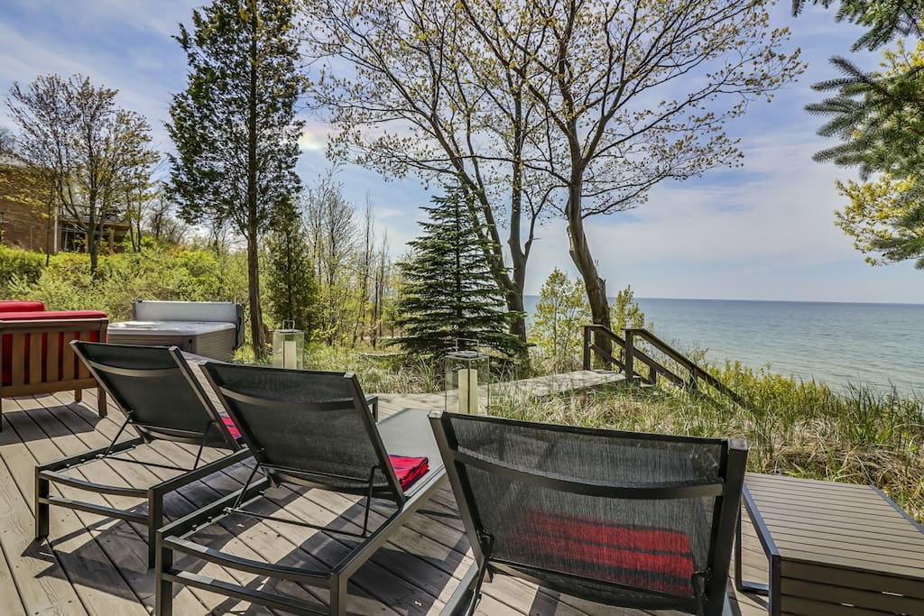 large wrap around deck with amazing lake views with only 40 stairs to the sand!