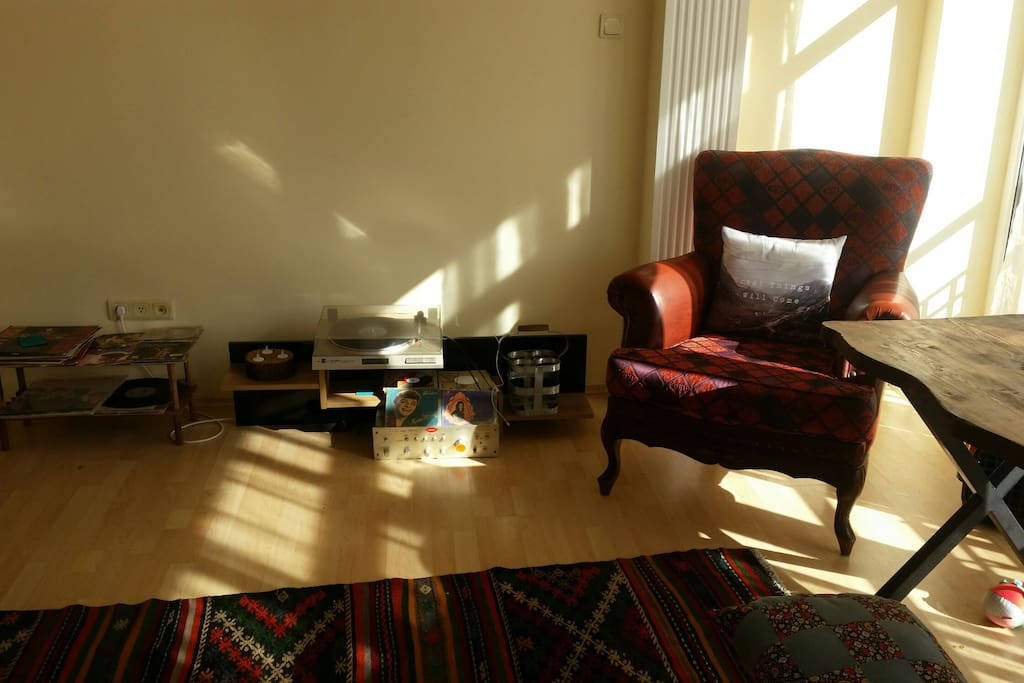 vintage Sofa and vinly record player