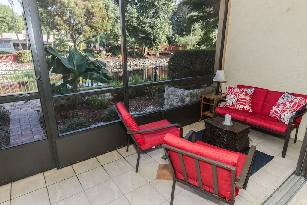 Enjoy this slice of paradise while relaxing on your private screened lanai w/tranquil water views.