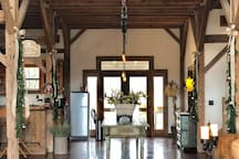 The hall is decorated with bows and garland which truly makes you feel at home on the Ranch for Christmas...