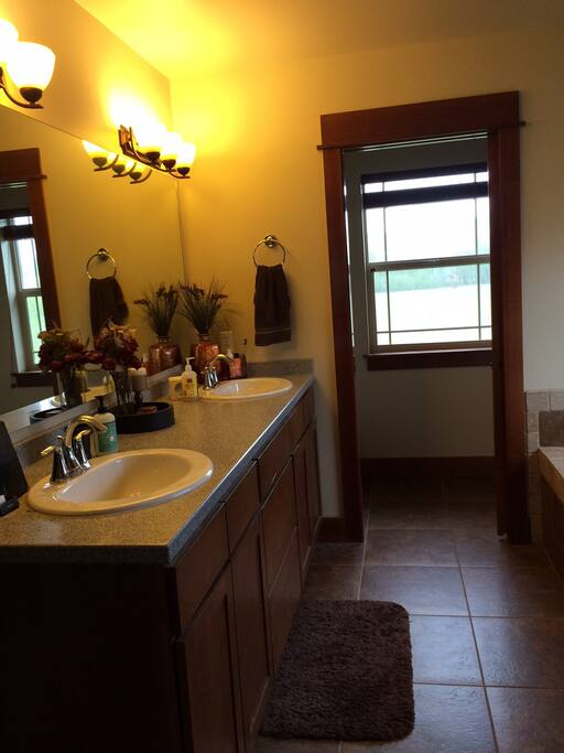 Master bath his and hers sink