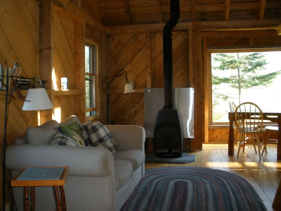 Living space with wood stove