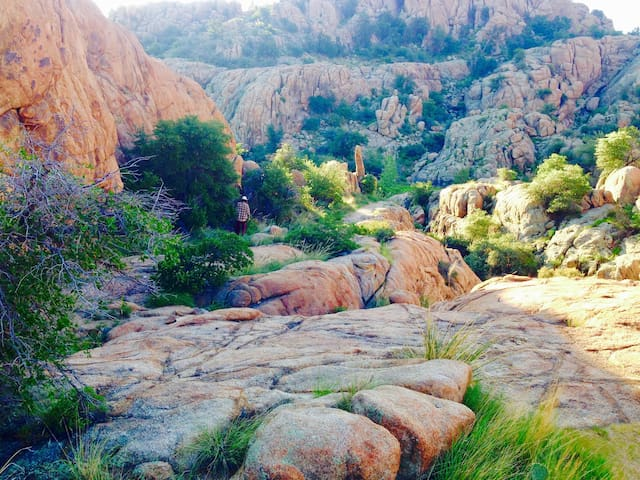 Along the trail that leads from from our home to Watson Lake. There are more than 100 miles of trails accessible from these gorgeous Granite Dells.