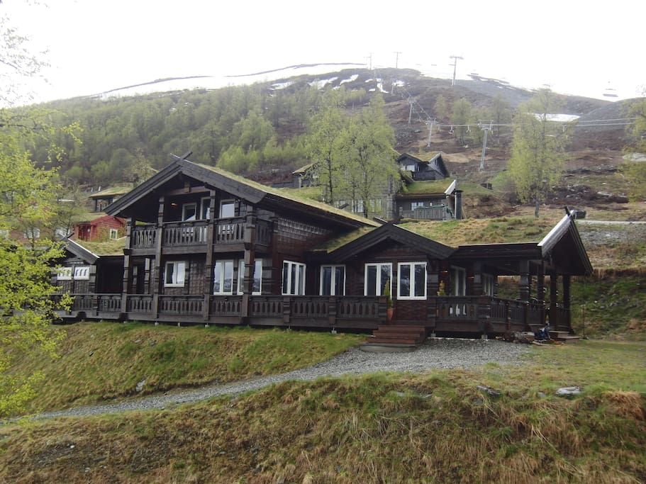 Large cabin at ski resort area.