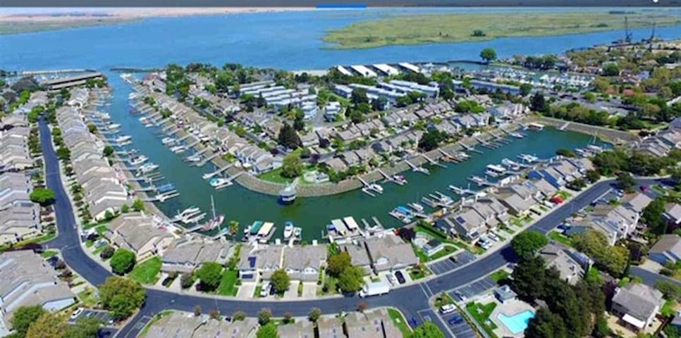 Waterfront property with private dock in marina.