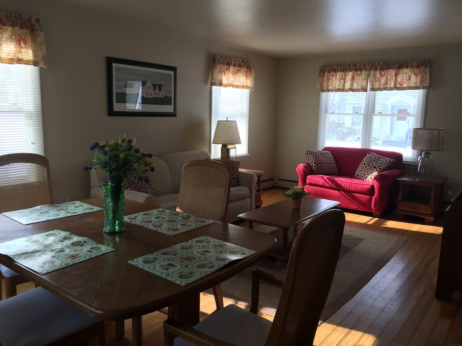Living room with two pull out couches! Large dining room table. Flat screen tv with cable and Netflix.