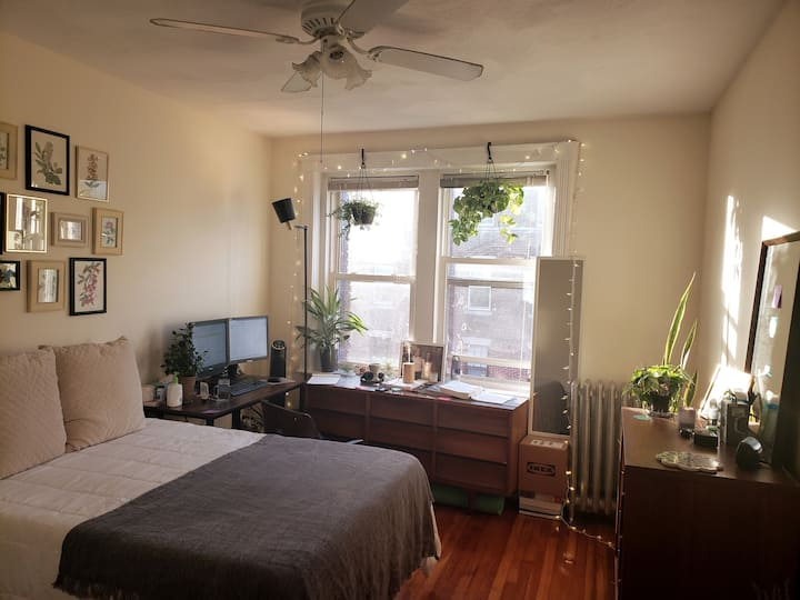 Sunny, Top-Floor Bedroom w/ Private Apt Balcony