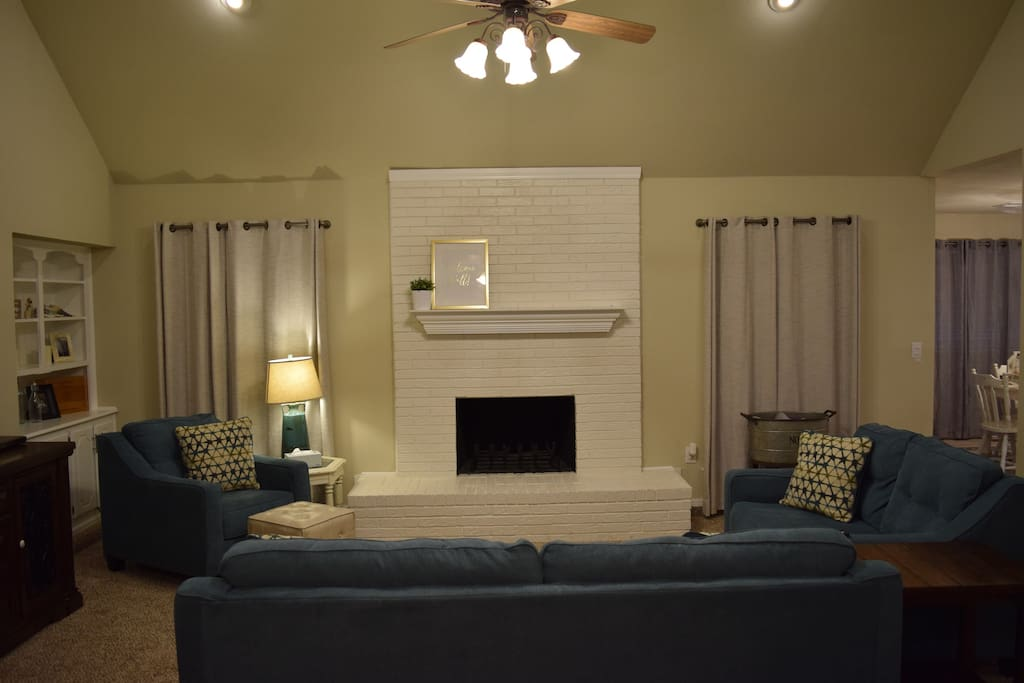 White fireplace could be the perfect place for a selfie with a friend or a family picture to remember your trip!