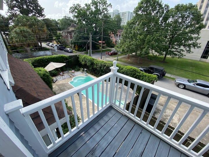 Historic Charm: Room w Private Balcony, Pool.