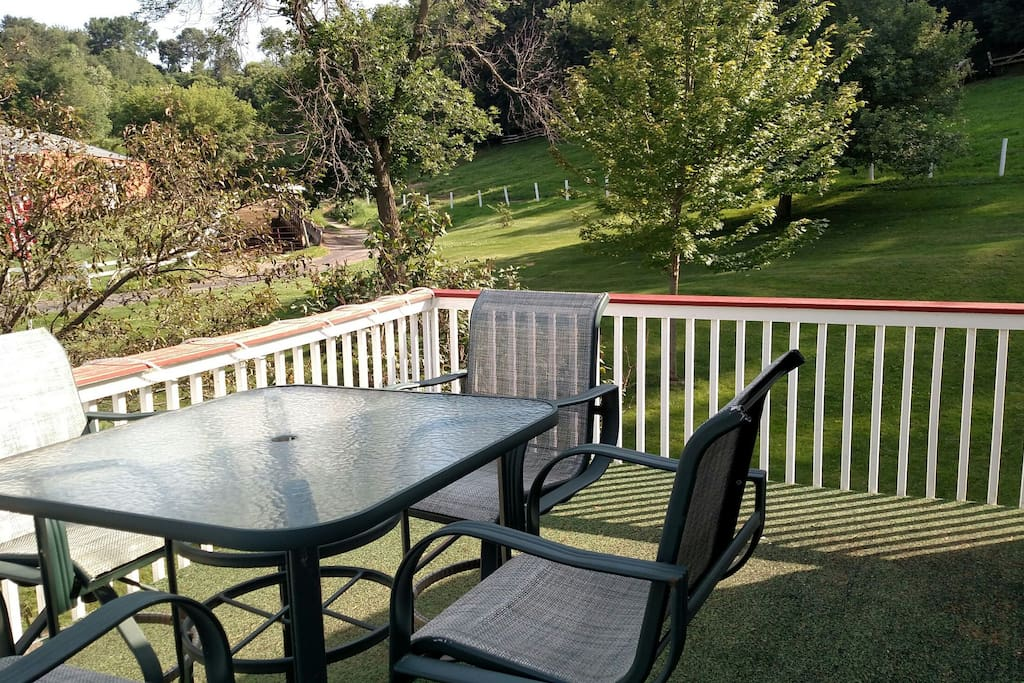 deck off the house, great for relaxing and viewing the farm