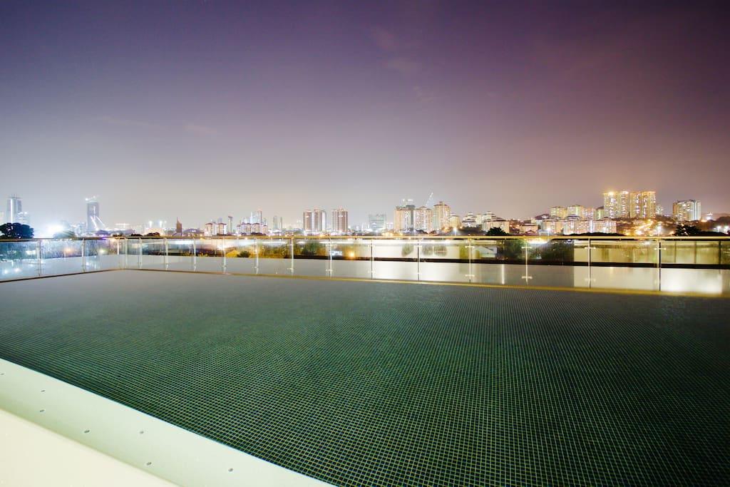 Infinity night pool view