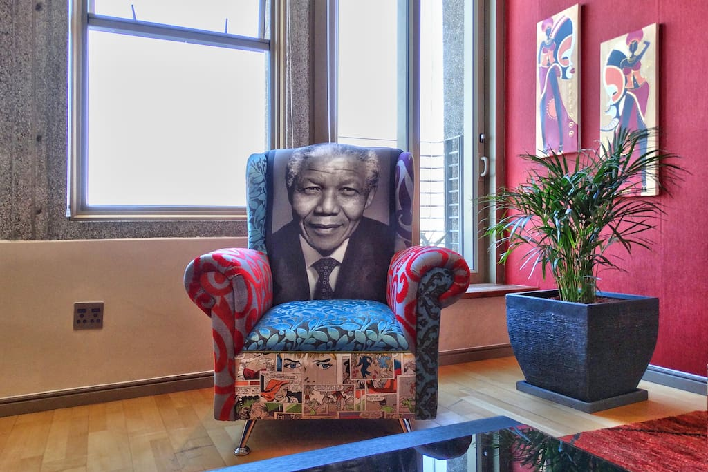 Nelson Mandela Chair in the Lounge area from a local artist