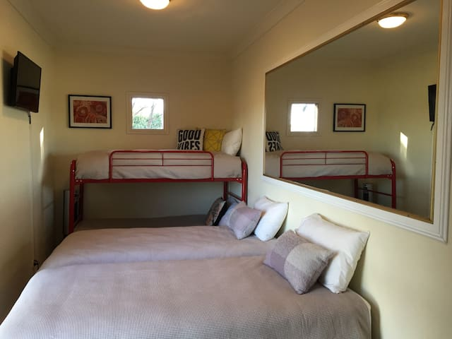 Super comfy King Single beds & bunk beds with an electric heater,32 inch TV and great views( kids love this room)