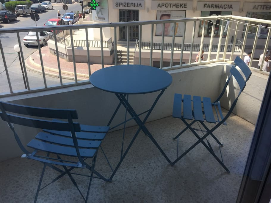 Balcony in central Qawra close to many shops, promenade and bus terminus.