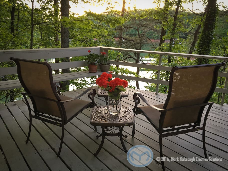 The private deck offers excellent views of the lake that is only steps away.