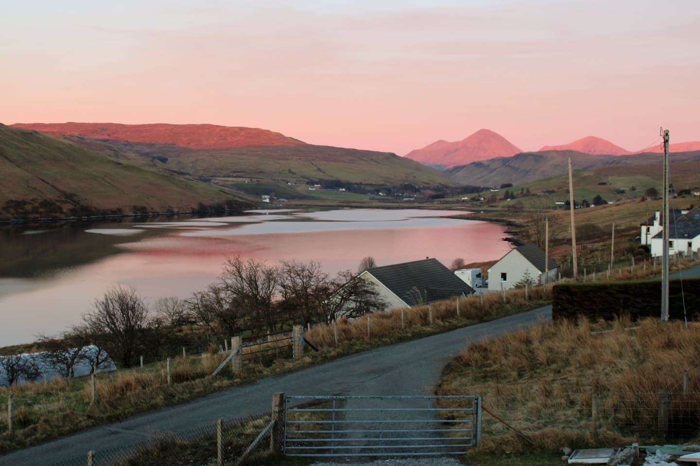 The Red Cuillin Mountains from your cottage.