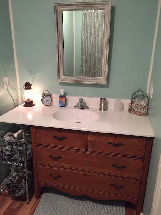 Repurposed dresser made sink.