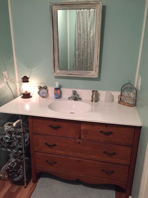 Repurposed dresser made sink.