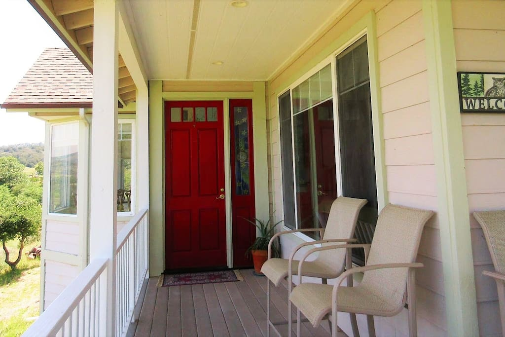 The front porch is a great place for complementary organic coffee or tea in the morning or your own glass of wine or mug of beer later on in the day