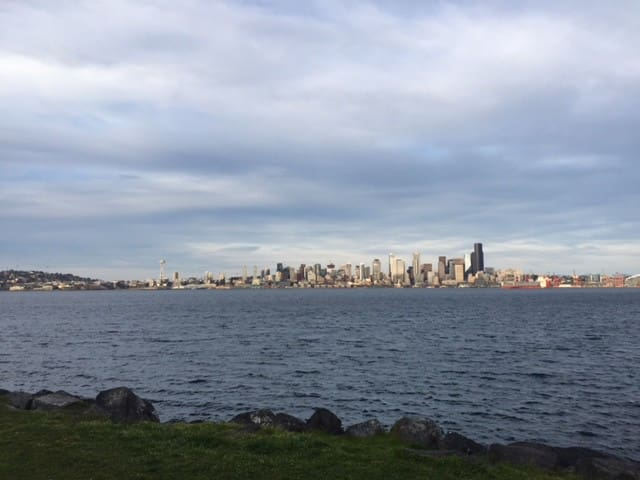 View of Downtown Seattle from Alki Beach