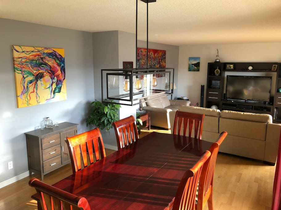 Open concept living area and large dining room