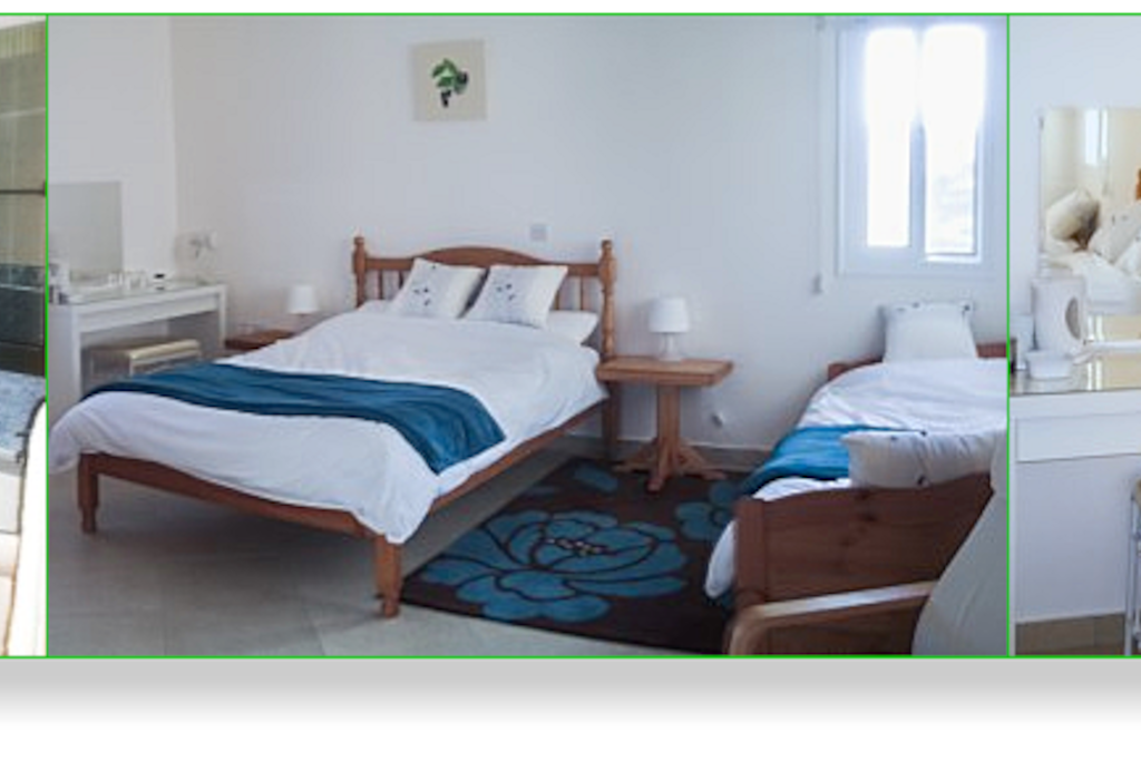 Blueberry Room. Large room with full private bathroom, 1 double bed and 2 singles and balcony overlooking the pool