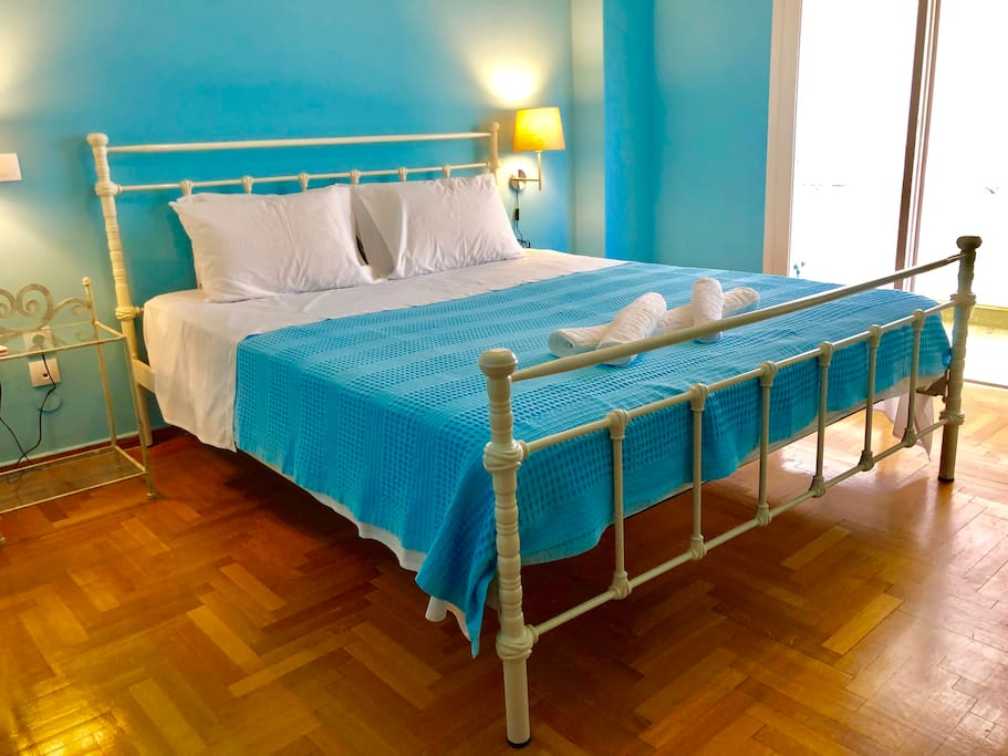Big and comfort bed, with new mattress from a famous Greek brand, Candia strom.The size, 170X 210 cm will certainly fit you! Sweet dreams.