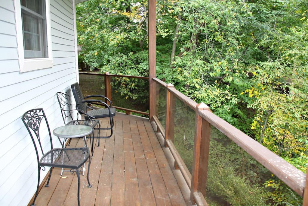 There are many wrap around porches with outdoor furniture