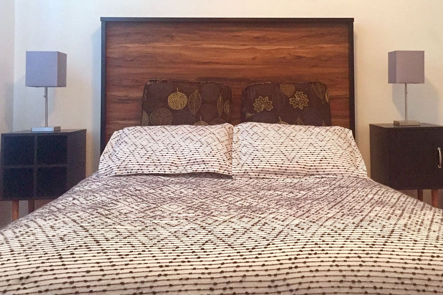 The guest room provides a relaxing environment with clean lines and elegant style. The bed is reportedly so comfortable- perfectly firm and supportive. It's a one-of-a-kind high quality mattress, hand made with 100% organic cotton and wool materials.