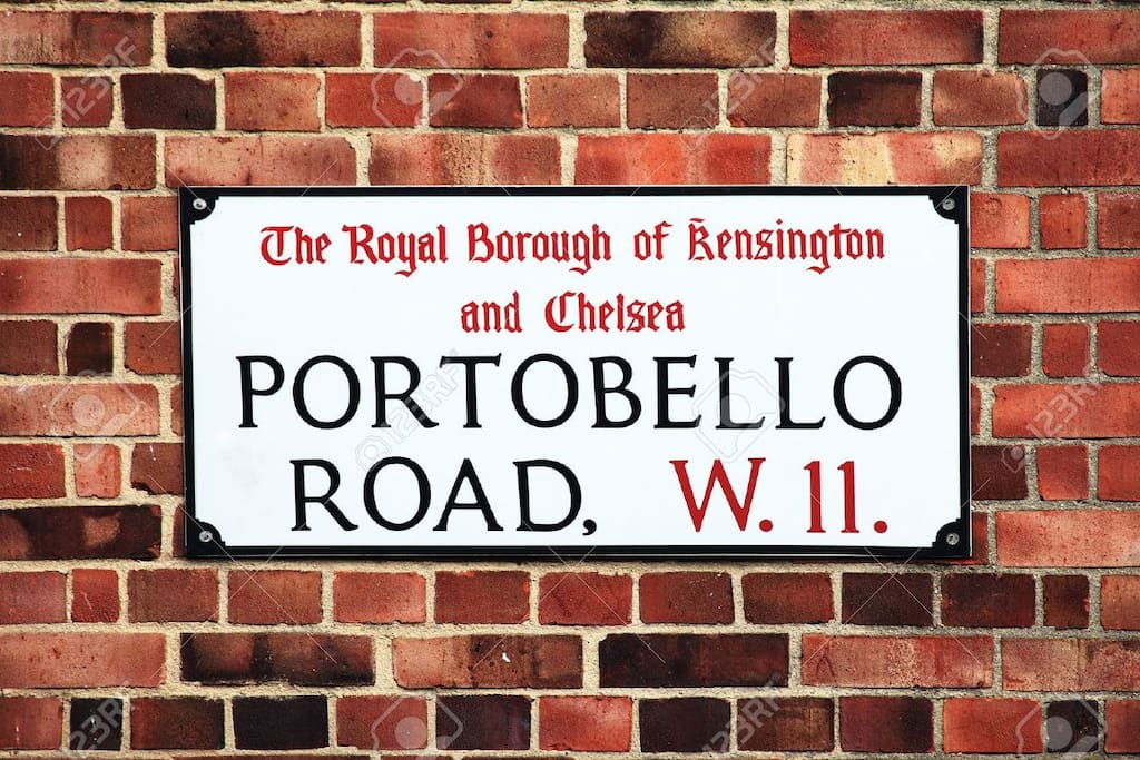 The flat is located on a quiet part of Portobello road