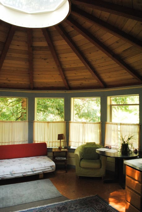 Moonyurt is situated in the shade, with lots of soft diffused light and a full panoramic view of the gardens.