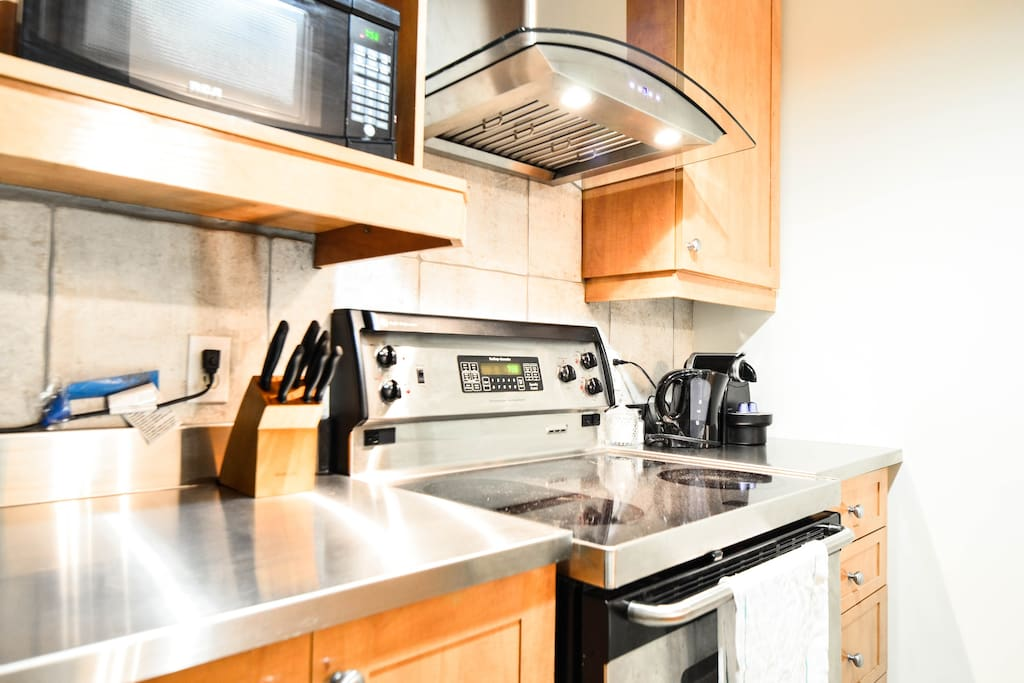 Fully equipped stainless steel kitchen