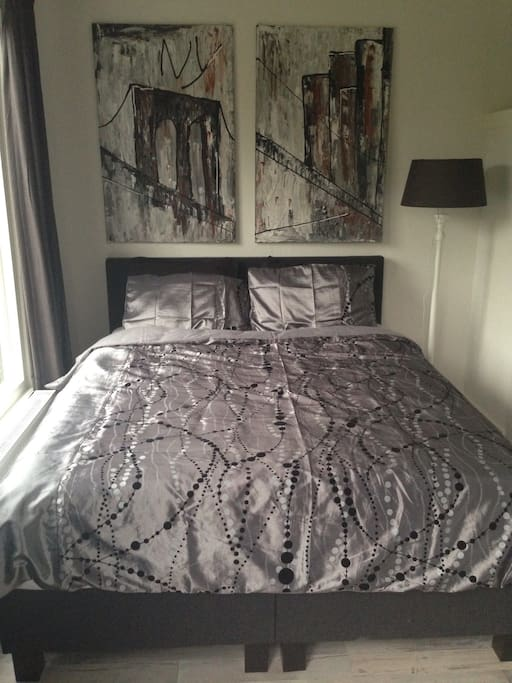Brand new box spring bed with luxurious bed linen  (With Dutch Artist paintings which can be purchased)
