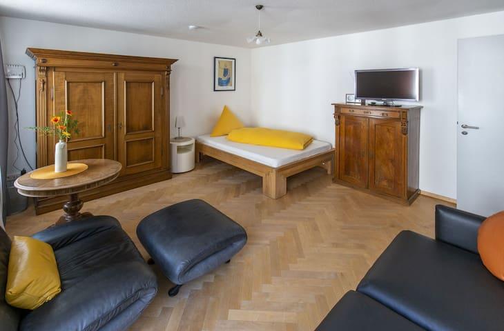 Apartments im Café Einstein, (Freiburg im Breisgau), Apartment Achat, 40qm, Balkon, 1 Wohn-/Schlafzimmer, max 3 Personen