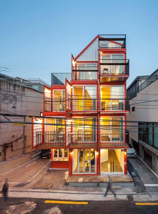 Orange cube house