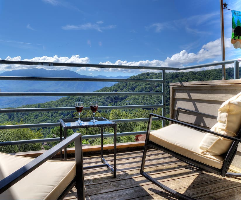 Enjoy a glass of wine on private balcony while taking in the breathtaking views of Mt Leconte