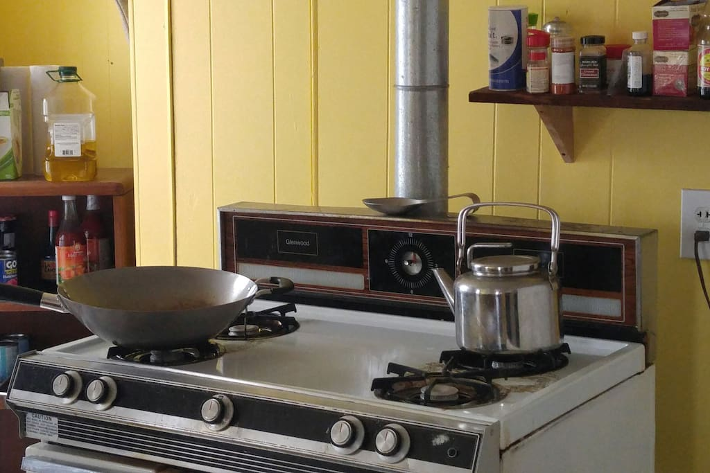 Gas stove and everything you need to cook with.