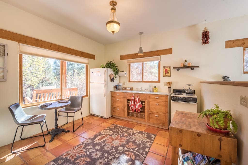 Spacious yet cozy, our space has a full kitchen (minus microwave) and comfortable seating.