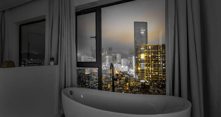 小鹿民宿.清风.超大浴缸带巨幕投影可做饭一居室,近网红街,地铁站