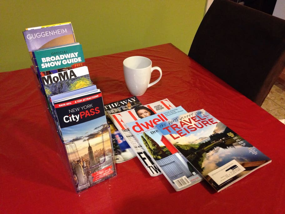 Museum/City guides, maps, and magazines available to read while you have your morning cup of coffee.
