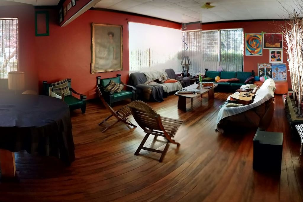 This is the living room.  It's like de heart of the house it is one of the common spaces.  We gather here to socialize.