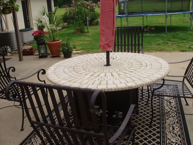 One of the patio tables