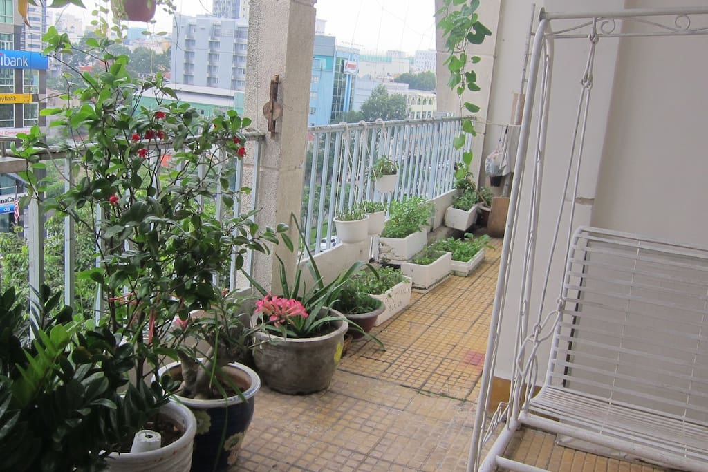 Our lovely corner outside the room with direct view to Nguyen Hue St., early morning