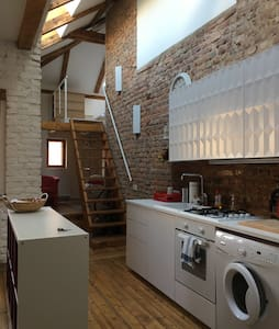 Spacious and bright romantic attic apt in Vysehrad - Prag - Loft