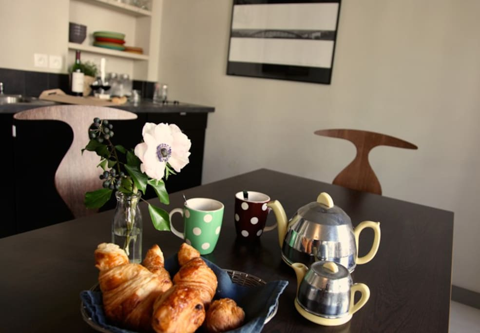 Dining table and ...croissants!